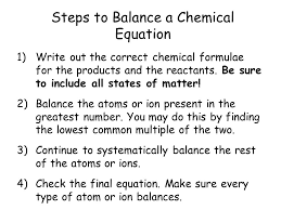 steps to balance a chemical equation