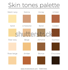 Almond Color Chart Skin Tones Color Palette Vector Skin Stock Vector Royalty