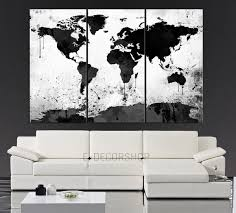 large black white world map canvas print 3 piece watercolor splash map large canvas wall art on 3 piece canvas wall art diy with large black white world map canvas print 3 piece watercolor splash