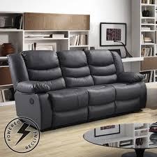 Living Room Furniture Belfast Belfast Slate Dark Grey Premium Bonded Leather Power Recliner Sofa