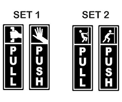 push pull signs 2 option door window
