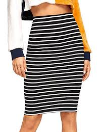 Shein Womens Striped Knee Length Elastic Waist Bodycon Pencil Skirt