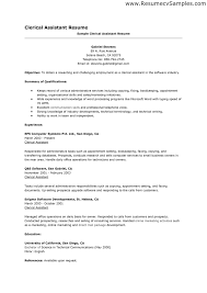 Samples Of Clerical Resumes Examples Of Clerical Resumes Ninjaturtletechrepairsco 3