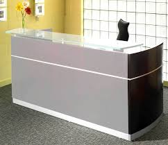 ... Desk, Small Receptionist Desk Clear Glass Transaction Counter White  Accents And Gray Finish Modern Style