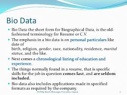 what does biodata mean