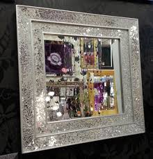 Broken Mirror Wall Art Crackle Glass Mosaic Wall Mirror Square Silver Double Frame