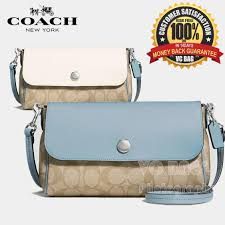 COACH F59534 Signature Coated Canvas Reversible Crossbody Bag  Silver Light  Khaki