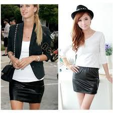 2019 women black faux leather mini skirt high waisted short pencil shirts 1 38 from yuncai1 13 97 dhgate com