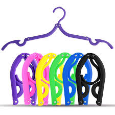 Hot Portable Folding <b>Plastic</b> Clothing Coat Hanger <b>Travel</b> Foldable ...