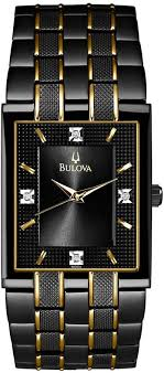 17 best ideas about bulova mens watches bulova bulova men s diamond accent black and gold tone stainless steel bracelet watch 30mm 98d004