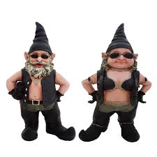 h biker dude and biker gnomes in leather motorcycle riding gear