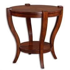 uttermost bergman round end table in warm antique pecan