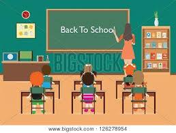 classroom table vector. classroom interior with little students and teacher green blackboard table chair vector e