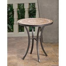 boracay beige ceramic and wrought iron 20 inch round mosaic round outdoor side table outdoor