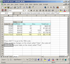 Ms Excel 2003 Automatically Refresh Pivot Table When Data