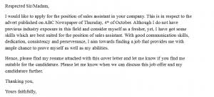 Cover Letter For Sales Assistant With No Experience Coverletter