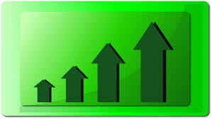 Chart Showing Increase Sales Graph Clipart Image Arrows On A Green Chart Showing