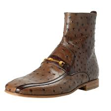 versace men s brown ostrich skin leather ankle boots
