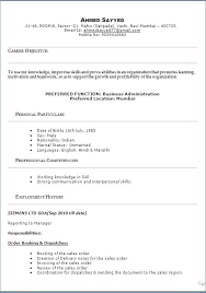 Business Objectives For Resume Model Sample Template Example