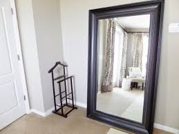 Modern Large White Floor Mirror Leaner With Black Frame On Tan Inside Creativity Ideas