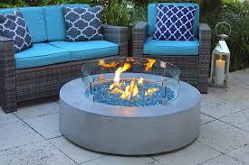round modern concrete gas fire pit table in gray brick deterioration precast concrete gas oven