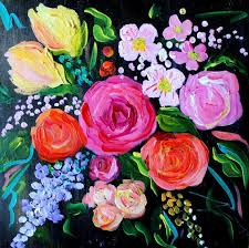 abstract flower painting wedding bouquet fine art print giclee reion colorful flowers pink and yellow roses on