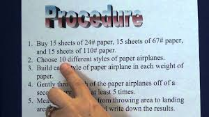 Science Projects Reports Sample Science Project 4 Write A Procedure Youtube