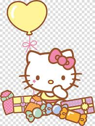 Hello Kitty Sitting Near Gift Boxes Illustration Hello