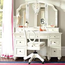 Makeup Vanity Set Dressing Table Folding Mirror W Stool White ...