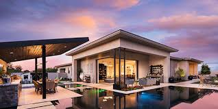 infinity pool up to home s patio with floating patio space and outdoor kitchen