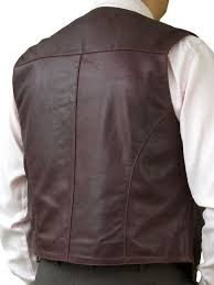 mens casual soft leather waistcoat burdy