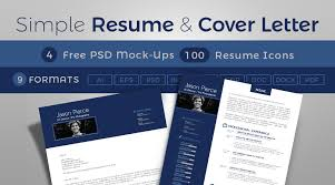 Simple Resume Cv Design Cover Letter Template 4 Psd Mock Ups