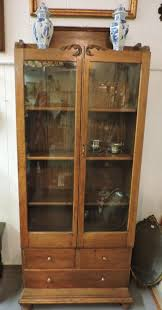 antique oak glass door bookcase with 3 drawers 425 00 dlr22
