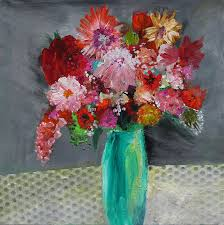 florals painting flowers in a green vase by marilyn woods flowers in vase w92
