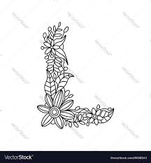 Letter L Coloring Book For Adults Royalty Free Vector Image