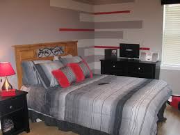 awesome boys bedroom ideas with red and grey stripes colour theme wall decals added wooden headboard fixed gray cover bed sheet as well as black dresser