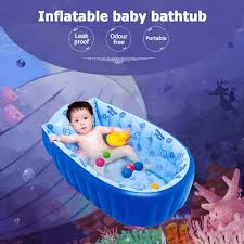inflatable baby bath tub swimming pool anti slip safety with central cushion seat blue
