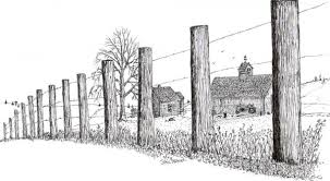 farm fence drawing. Line Drawing Of Barn   Fence Farm