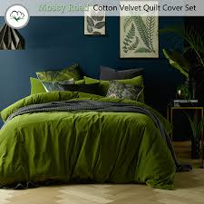 details about mossy road cotton velvet quilt cover set or eurocases queen king super king