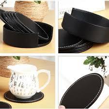6PCS/Set <b>PU</b> Leather <b>Round</b> Drink <b>Coasters</b> With <b>Coaster</b> Holder ...