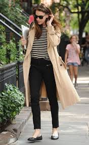 cream beige trench looks refined with breton stripes