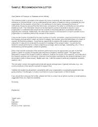Letter Of Recommendation For Graduate School Letter Of Recommendation