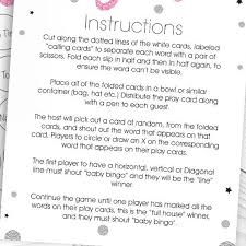 Wedding Bingo Words Baby Bingo Pink Silver Print Buzz Wedding Invitations