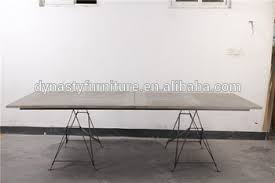 O Industrial Furniture Long Recycled Wooden Dining Table With Metal Thin Legs