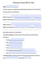 watercraft bill of sale free arkansas vessel bill of sale form pdf word doc