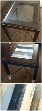 painting glass tables tops replaced glass top end table with wood panels and distressed each by