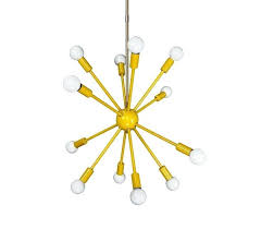 brass sputnik chandelier yellow lighting mid century modern brown design uk