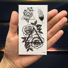 черные временные татуировки подсолнечника листья роза хна татуировки для