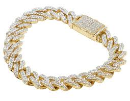 mens 10k yellow gold miami cuban link iced out real diamond bracelet 10 75ct