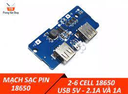 Mạch sạc pin dự phòng 18650 2-6 cell 2 USB 5v 2A và 1A